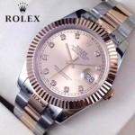 ROLEX-07-23 時尚新款商務男士間玫瑰金系列日誌型藍寶石鏡面鋼帶腕錶