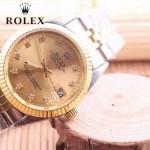 ROLEX-06-18 人氣熱銷商務男士間金系列日誌型藍寶石鏡面鋼帶款腕錶