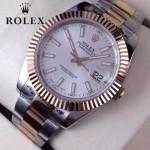 ROLEX-07-25 時尚新款商務男士間玫瑰金系列日誌型藍寶石鏡面鋼帶腕錶