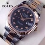 ROLEX-07-26 時尚新款商務男士間玫瑰金系列日誌型藍寶石鏡面鋼帶腕錶