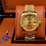ROLEX-06-5 人氣熱銷商務男士日誌型藍寶石鏡面土豪金鋼帶款腕錶