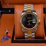 ROLEX-06-11 人氣熱銷商務男士間金系列日誌型藍寶石鏡面鋼帶款腕錶