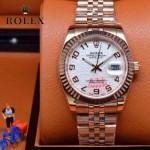 ROLEX-07-8 型男必備商務精英玫瑰金日誌型藍寶石鏡面鋼帶腕錶
