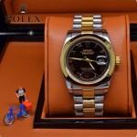 ROLEX-06-13 人氣熱銷商務男士間金系列日誌型藍寶石鏡面鋼帶款腕錶