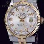 ROLEX-07-28 時尚新款商務男士間金系列日誌型藍寶石鏡面鋼帶腕錶