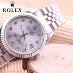ROLEX-06-17 人氣熱銷商務男士日誌型藍寶石鏡面閃亮銀鋼帶款腕錶