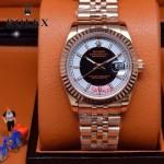 ROLEX-07-11 型男必備商務精英玫瑰金日誌型藍寶石鏡面鋼帶腕錶