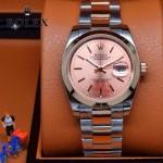 ROLEX-07 時尚新款商務男士間玫瑰金系列日誌型藍寶石鏡面鋼帶腕錶