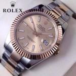 ROLEX-07-21 時尚新款商務男士間玫瑰金系列日誌型藍寶石鏡面鋼帶腕錶