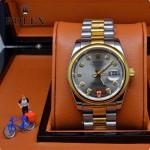 ROLEX-06-12 人氣熱銷商務男士間金系列日誌型藍寶石鏡面鋼帶款腕錶