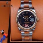 ROLEX-07-3 時尚新款商務男士間玫瑰金系列日誌型藍寶石鏡面鋼帶腕錶