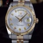 ROLEX-07-30 時尚新款商務男士間金系列日誌型藍寶石鏡面鋼帶腕錶