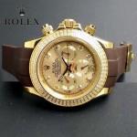 ROLEX-011 型男必備宇宙型迪通拿土豪金鑲鑽膠帶款腕錶