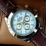 ROLEX-012-7 新款商務男士宇宙型迪通拿間金外圈皮帶款腕錶