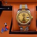 ROLEX-06-7 人氣熱銷商務男士間金系列日誌型藍寶石鏡面鋼帶款腕錶