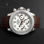 ROLEX-011-5 型男必備宇宙型迪通拿閃亮銀鑲鑽膠帶款腕錶