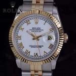 ROLEX-07-29 時尚新款商務男士間金系列日誌型藍寶石鏡面鋼帶腕錶