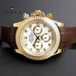 ROLEX-011-4 型男必備宇宙型迪通拿土豪金鑲鑽膠帶款腕錶