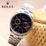 ROLEX-08 商務精英切利尼六針系列閃亮銀鋼帶款自動機械腕錶