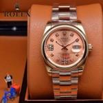 ROLEX-07-14 型男必備商務精英玫瑰金日誌型藍寶石鏡面鋼帶腕錶