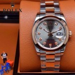 ROLEX-07-9 時尚新款商務男士間玫瑰金系列日誌型藍寶石鏡面鋼帶腕錶