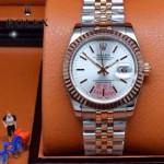 ROLEX-07-5 時尚新款商務男士間玫瑰金系列日誌型藍寶石鏡面鋼帶腕錶
