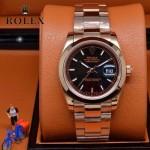 ROLEX-07-15 型男必備商務精英玫瑰金日誌型藍寶石鏡面鋼帶腕錶