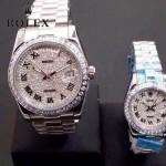 ROLEX-04 時尚奢華情侶款滿天星系列日誌型藍寶石鏡面鋼帶款腕錶