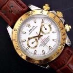 ROLEX-012 新款商務男士宇宙型迪通拿間金外圈皮帶款腕錶