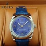 ROLEX-022-3 商務男士新款日誌型藍色閃亮銀藍寶石鏡面皮帶款腕錶