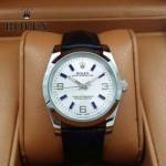 ROLEX-022 商務男士新款日誌型黑色閃亮銀藍寶石鏡面皮帶款腕錶