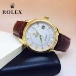 ROLEX-024 時尚男士切利尼系列褐色土豪金藍寶石鏡面 皮帶款腕錶