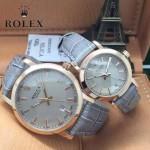 ROLEX-016-2 新款潮流情侶款灰色玫瑰金日本石英腕錶