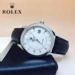 ROLEX-024-3 時尚男士切利尼系列黑色閃亮銀藍寶石鏡面 皮帶款腕錶