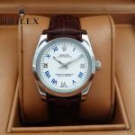 ROLEX-022-2 商務男士新款日誌型褐色閃亮銀藍寶石鏡面皮帶款腕錶