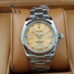 ROLEX-021-22 時尚商務男士日誌型淡黃色錶盤藍寶石鏡面鋼帶款腕錶
