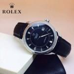 ROLEX-024-2 時尚男士切利尼系列黑色閃亮銀藍寶石鏡面 皮帶款腕錶