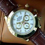 ROLEX-012-10 新款商務男士宇宙型迪通拿土豪金皮帶款腕錶