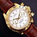 ROLEX-012-16 新款商務男士宇宙型迪通拿土豪金皮帶款腕錶