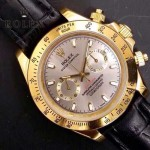 ROLEX-012-15 新款商務男士宇宙型迪通拿土豪金皮帶款腕錶
