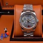 ROLEX-021-25 時尚商務女士日誌型銀色星星錶盤藍寶石鏡面鋼帶款腕錶