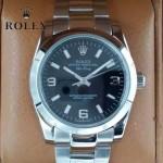 ROLEX-021-20 時尚商務男士日誌型黑色錶盤藍寶石鏡面鋼帶款腕錶