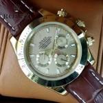 ROLEX-012-9 新款商務男士宇宙型迪通拿土豪金皮帶款腕錶