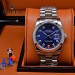 ROLEX-021-24 時尚商務男士日誌型藍色鑲鑽錶盤藍寶石鏡面鋼帶款腕錶