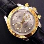 ROLEX-012-18 新款商務男士宇宙型迪通拿間金外圈皮帶款腕錶