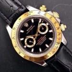 ROLEX-012-17 新款商務男士宇宙型迪通拿間金外圈皮帶款腕錶