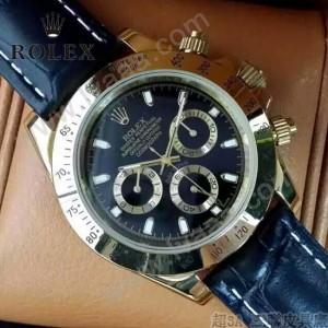 ROLEX-012-8 新款商務男士宇宙型迪通拿瑞士機芯土豪金皮帶款腕錶