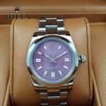ROLEX-021-23 時尚商務男士日誌型紫色錶盤藍寶石鏡面鋼帶款腕錶
