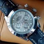ROLEX-012-12 新款商務男士宇宙型迪通閃亮銀外圈皮帶款腕錶