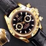 ROLEX-012-14 新款商務男士宇宙型迪通拿土豪金皮帶款腕錶
